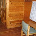 First room of two room cabin, desk area