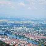 Spectacular view of the city of Heidelberg and the River Neckar as well as the Rhine Valley from