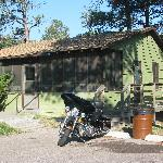 My bike posing in front of cabin#6