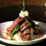 flanl steak and asparagus stack