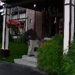 Entering the front door.