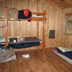 Inside view of a Burney Falls cabin