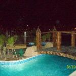 One of the pools by night