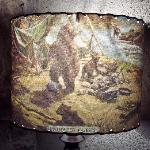 """Univited guests"" lampshade. Very homey and comfortable surroundings."