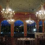 a room prepared for a private dinner