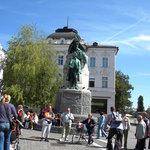 Preseren statue in Preseren Square - Ljubljana, Slovenia