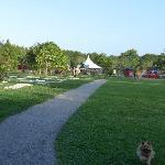 Enorme pradera, zona infantil y pistas deportivas