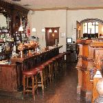 The dark wood bar