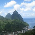 View of the Pitons from one of the MANY places for photo ops