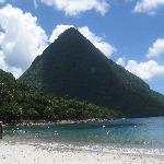 View from beach between Pitons.  This place was beautiful.