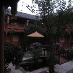 Morning view of our hotel's courtyard