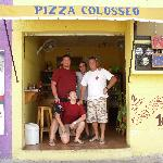 Myself, my girlfriend, Alex and Alberto in the best little pizza shop in Mexico!