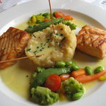 Salmon, mash and vegetables Main.