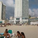 Bronzed beauties in front of the beachside Crowne Plaza Tel Aviv