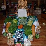 Carved Veggies display in restaraunt