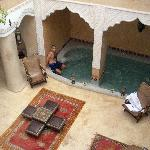 Relaxing in the courtyard spa