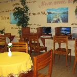 on-site internet cafe (and where breakfast is served)