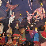 Decorative puppets hanging from ceiling