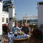 Enjoying breakfast on rooftop terrace