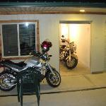 The garage and outside of room