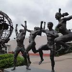 A statue out front of the Olympic Training center