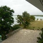 view of lagoon from top floor balcony