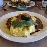 Huevos Rancheros with eggs.
