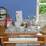 Our well stocked tea tray with delicious home baked apple and cinnamon muffins