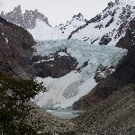 Glacier at base of Mount Fitz Roy, as seen on a hike starting from Hosteria El Pilar