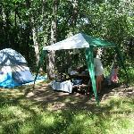 At our campsite; preparing for rain