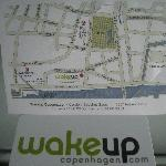 business card and map