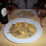 Pumpkin tortelloni and mushroom ravioli.  Yum!