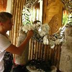 my boyfriend at the entrance of Oasia spa villas