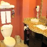 toilet, towels, and the sink