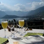 Bellini's on the patio with the view of Lake Como