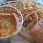 Cuban sandwich with a cup of French onion soup