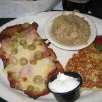 Schnitzel Liechtenstein, potato pancakes, saurkraut...mmmm