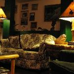 Main sofa of the living room with amazing handmade lights