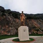statue in between house / ephesus
