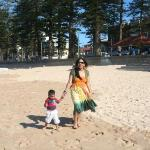 chasing the sea gulls at the Manly beach