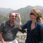 Nadina wiping the sweat from my brow at the Great Wall......what a climb!! Not sure of the city