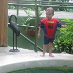spiderman at the pool