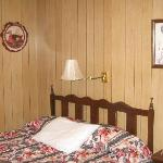 Comfy bed with nice bedspread and liked the wood paneling.