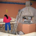 At the restaurant in Doña Esther Hotel. Wood oven pizza.