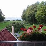 View of the gardens, Lake Meer in the background.
