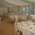 Marquee setting- almost ready to turn the glasses over..
