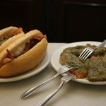 Sandwich of panceta with a side dish of fry green paper.Yammy
