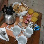 Breakfast, as delivered to our room.  Grilled ham & cheese, various breads, eggs, coffee or tea,
