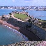View from Elizabeth Castle over to St Helier in St Aubins Bay