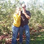 Zach and Missy eating their apples at the Orchard.